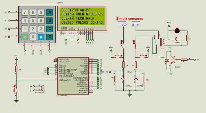 Este es el diseño de un contador electrónico realizado con el microcontrolador PIC 16F876A