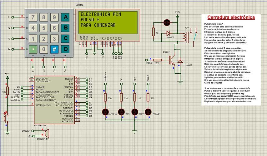 Cerradura electrónica con PIC 16F876A con teclado matricial